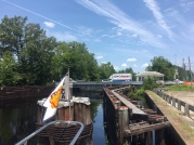 "When the bridge opens, we'll pass thru, and on to the lock, meet ""Conch Man,"" hear a tune, and then pass on thru the lock and end our cruise of the Dismal Swamp Canal."