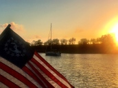 Flag at sunrise on Clouter Creek