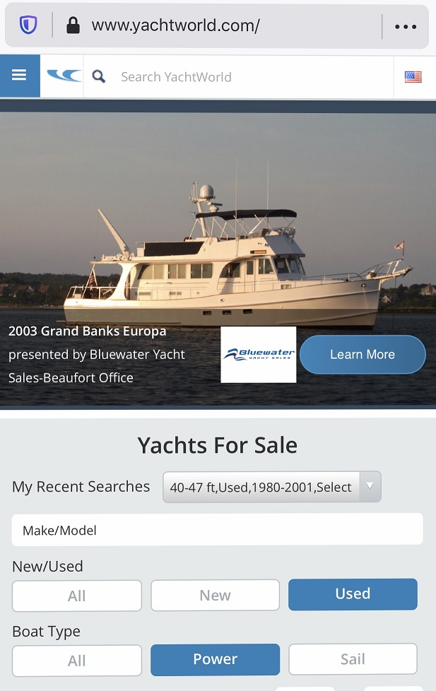 YACHTWORLD SCREEN SHOT ~ REDUCED